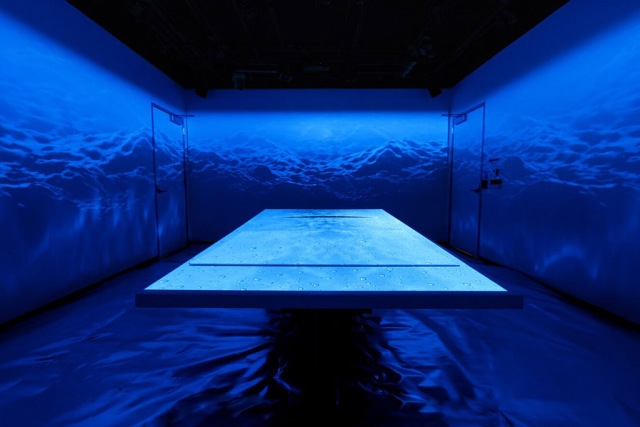 blue table in immersive technologies installation