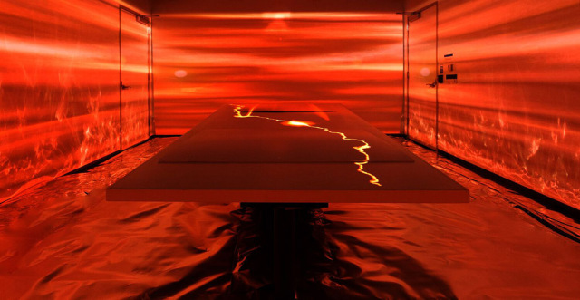 red table in immersive technologies installation
