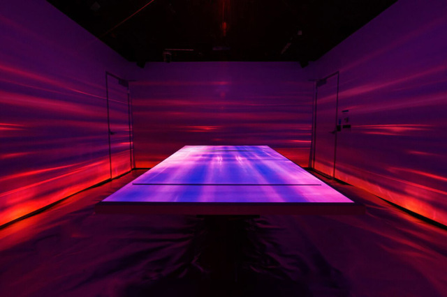 purple table in immersive technologies installation