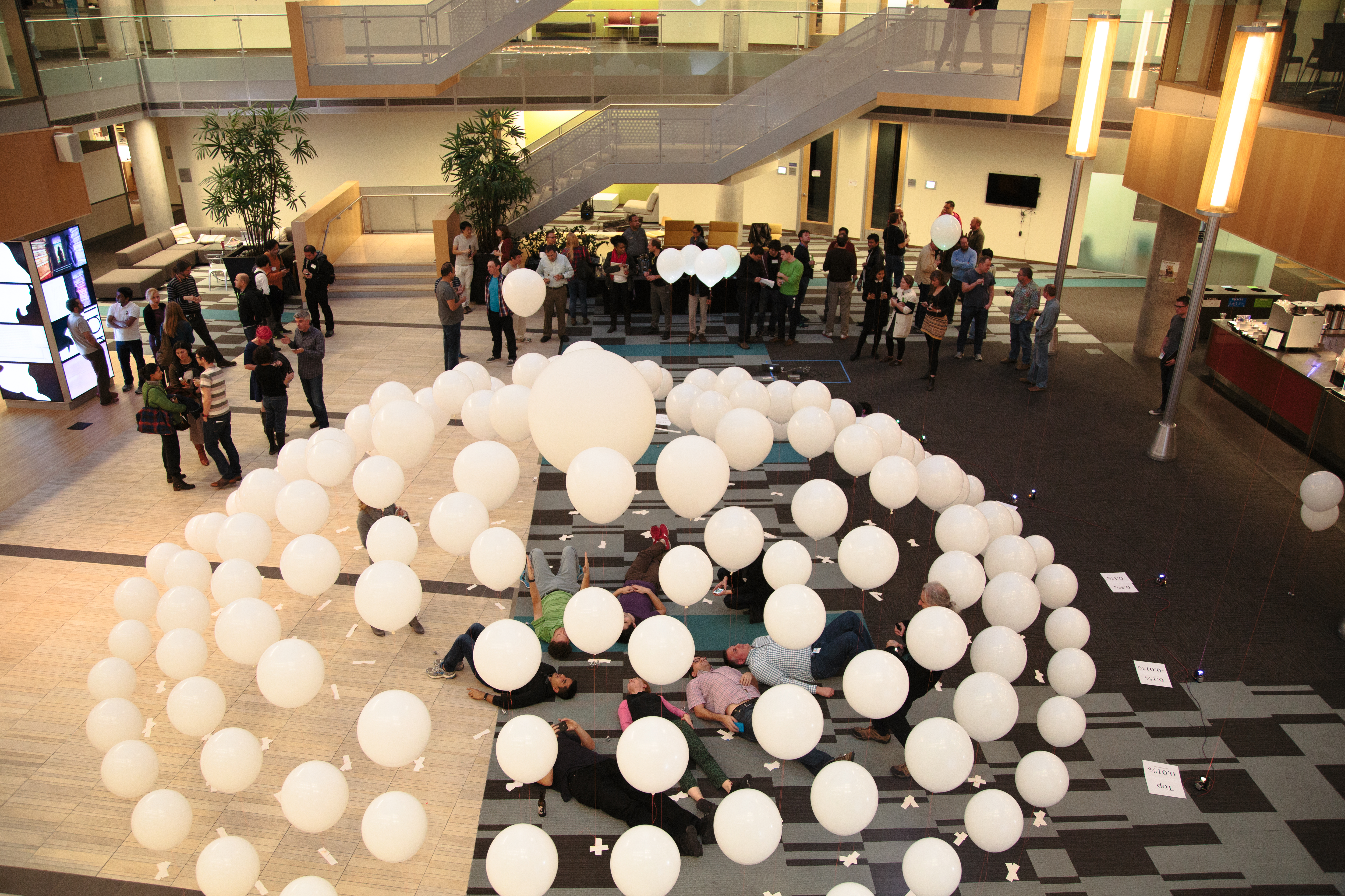 Disparity installation overview with balloons