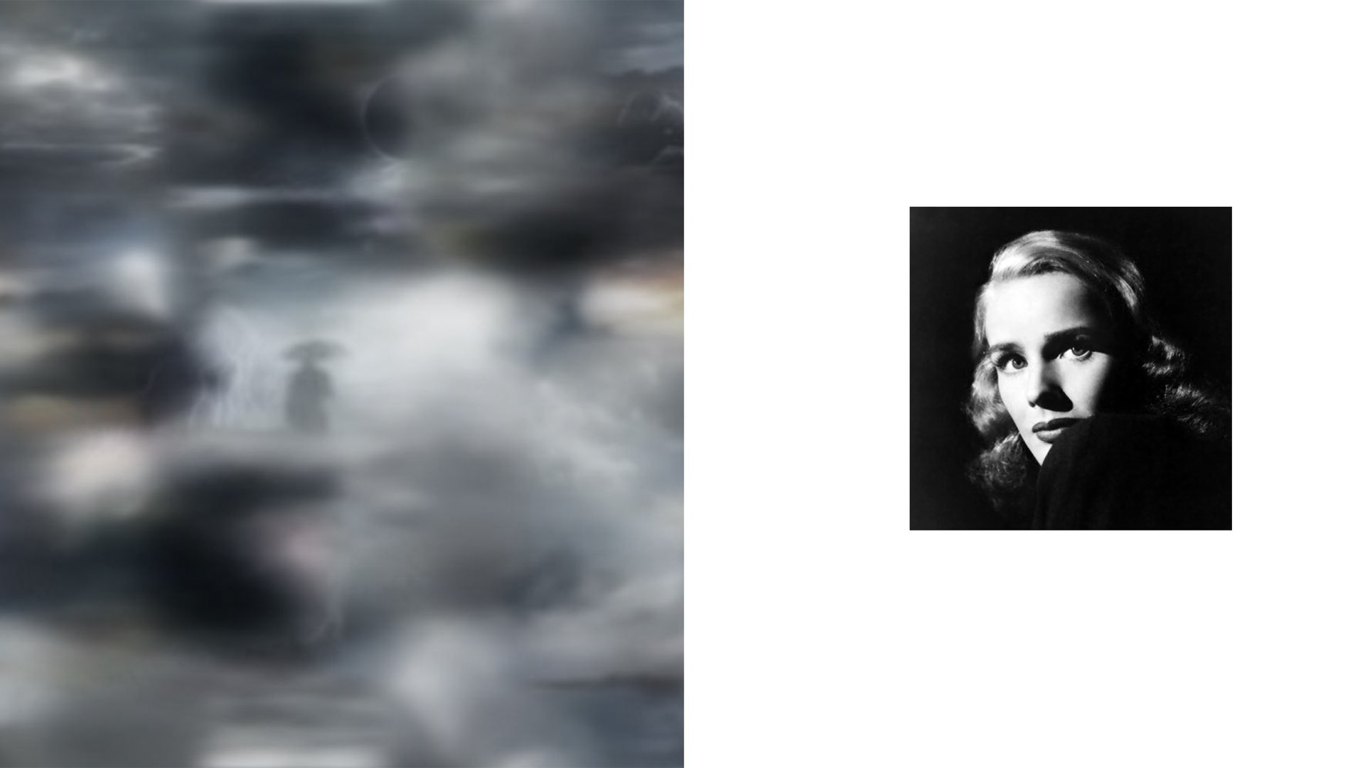 Artist Maja Petrić used machine learning algorithms to create this cloudy sky graphic, shown alongside a black/white glamour portrait of woman