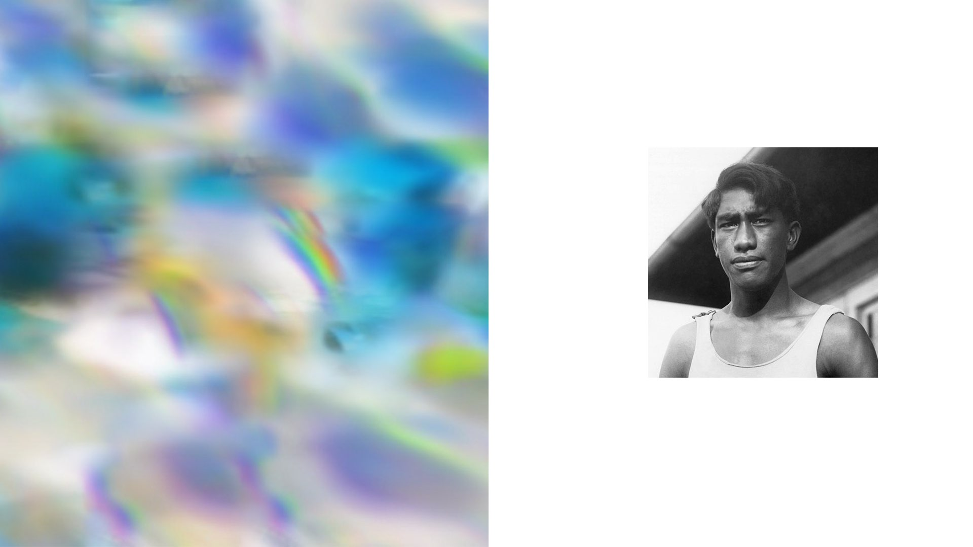 Artist Maja Petrić used machine learning algorithms to create this sky graphic, shown alongside a portrait of man