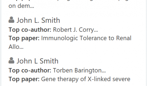 Screenshot of search results page showing list of more than 10 different authors with the same name.