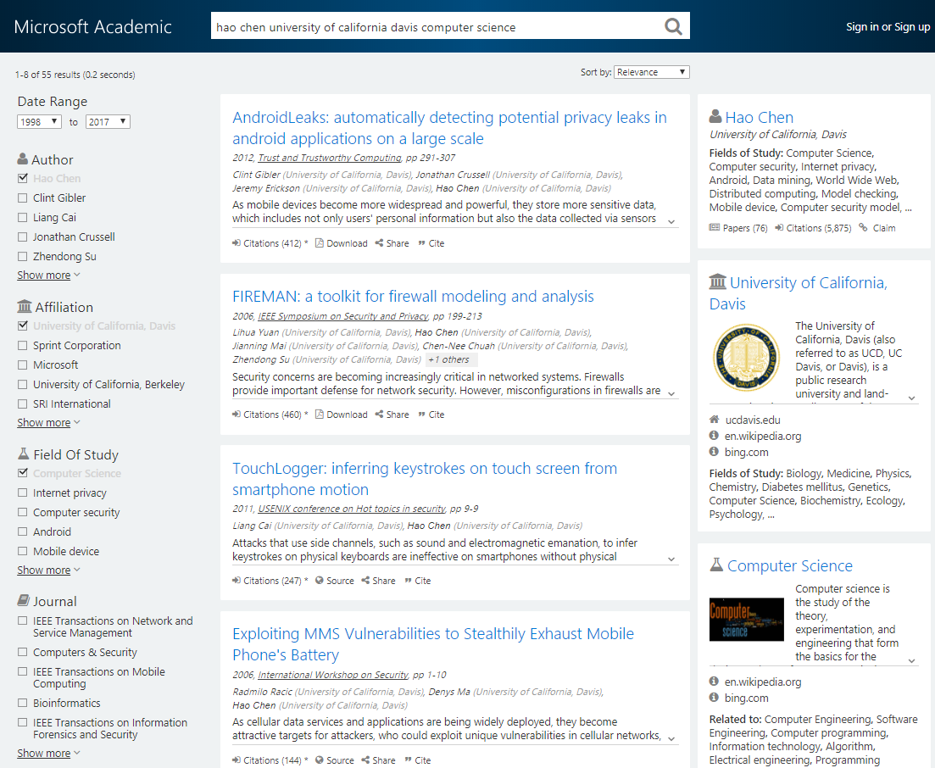 how microsoft academic uses knowledge to address the problem of