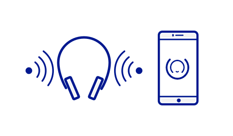 An illustration of an iPhone with the Soundscape app logo on the screen and a headset with sound waves coming from the left and right.