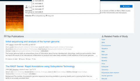 search box showing query suggestions for several interleukin genes