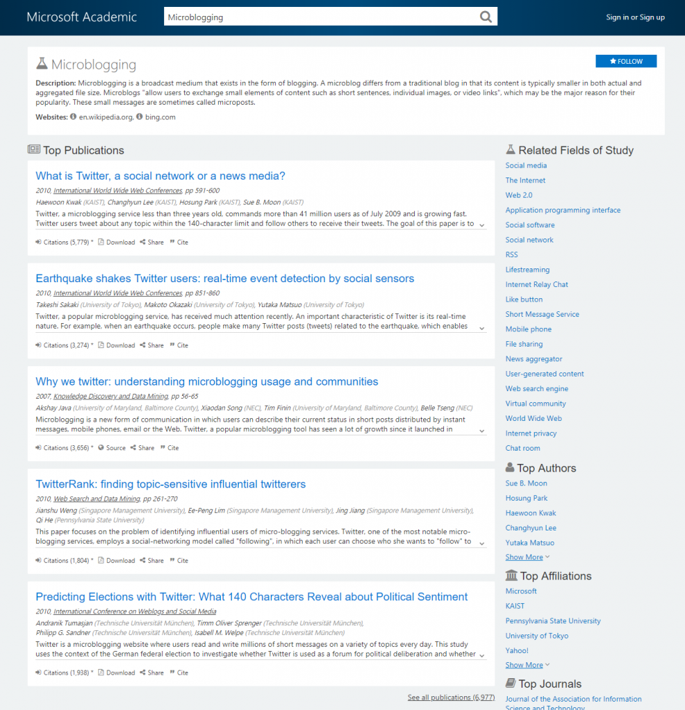 topic detail page for microblogging
