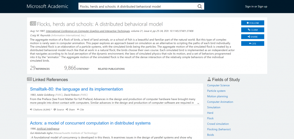 Screenshot Of Paper Flocks Herds And Schools A Distributed Behavioral Model Showing Fields