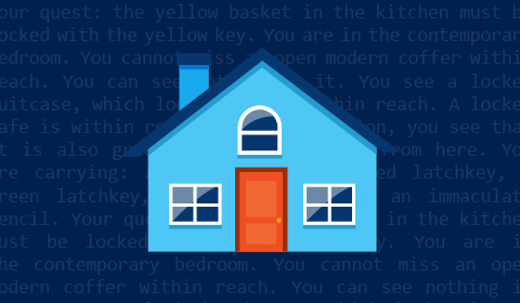 TextWorld blue house with orange front door