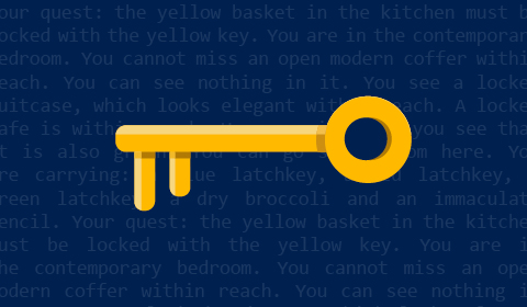 TextWorld illustration of a yellow key on a dark blue background