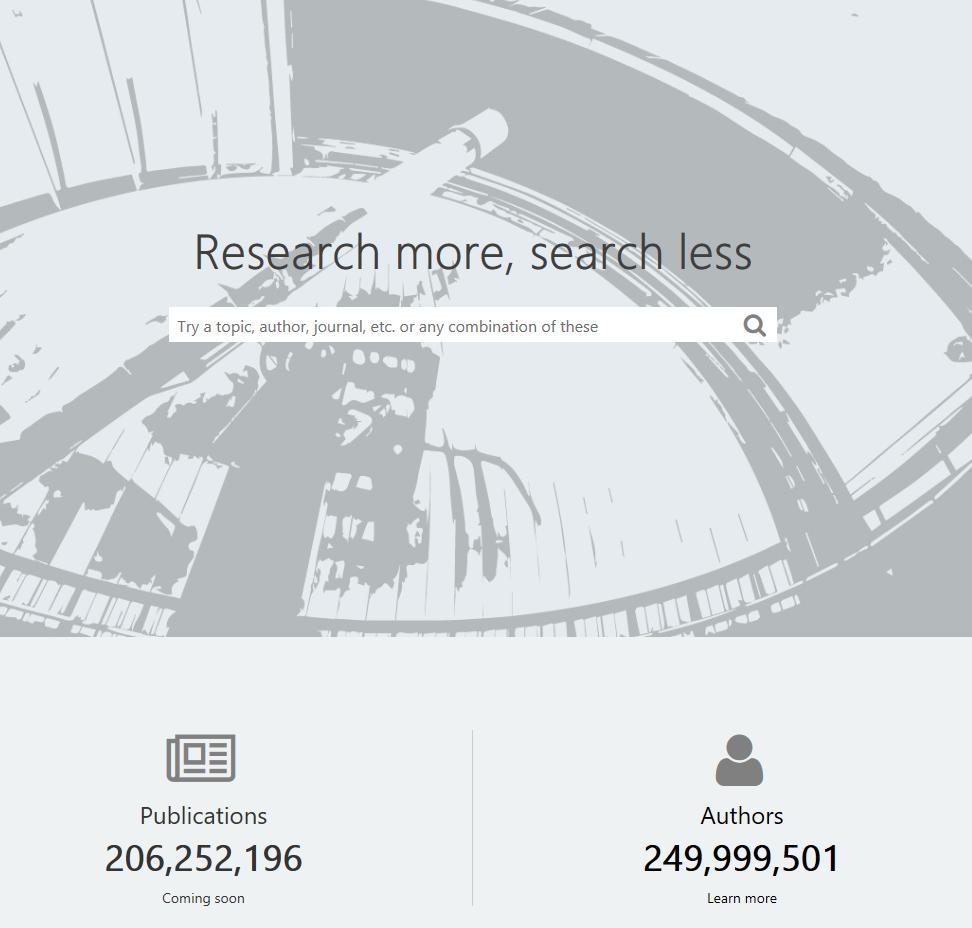 Statistics of Microsoft Academic homepage
