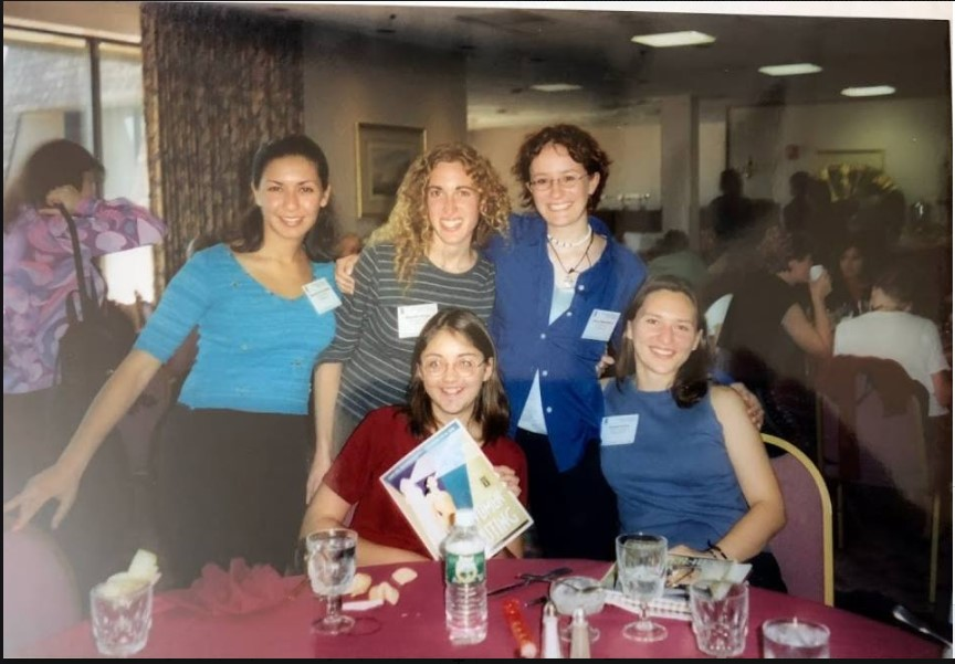 Brown University's undergraduate delegation at the 2000 Grace Hopper Celebration in Massachusetts. Top Row: Seema Ramchandani (now at Amazon), Meredith Ringel Morris (now at Microsoft Research), danah boyd (now at Microsoft Research). Bottom Row: Christine Russell (now at Google), Hannah Rohde (now at University of Edinburgh).
