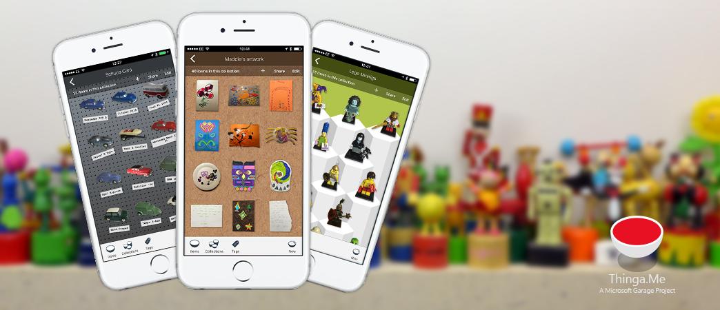 Three screenshots of the Thinga.Me app