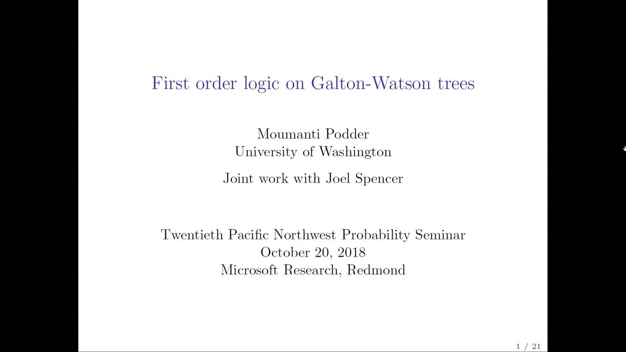 The 20th Northwest Probability Seminar: First Order Logic on