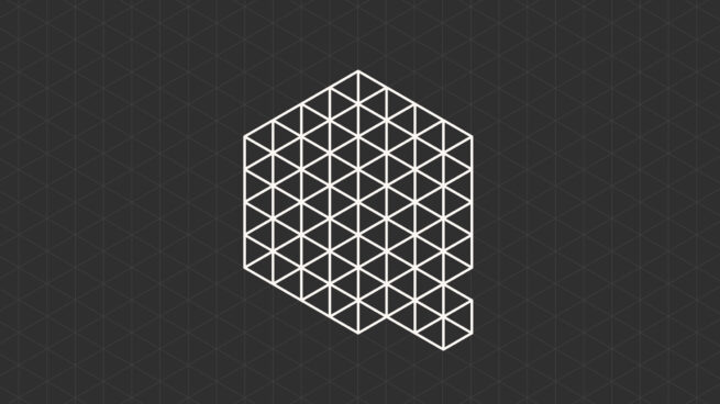Microsoft Quantum logo - a cube with a grid pattern