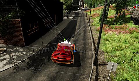 AirSim and Unity, a virtual car driving down the road