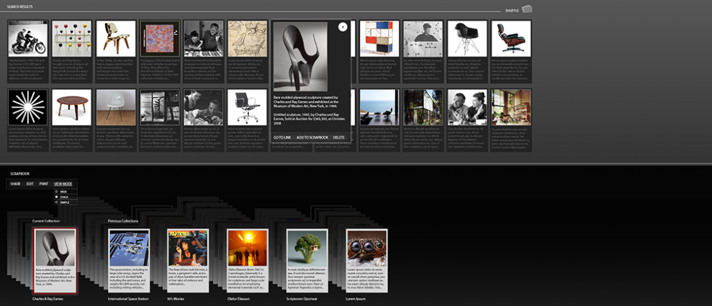 Image of the Cards prototype, showing a collection of cards about chairs.
