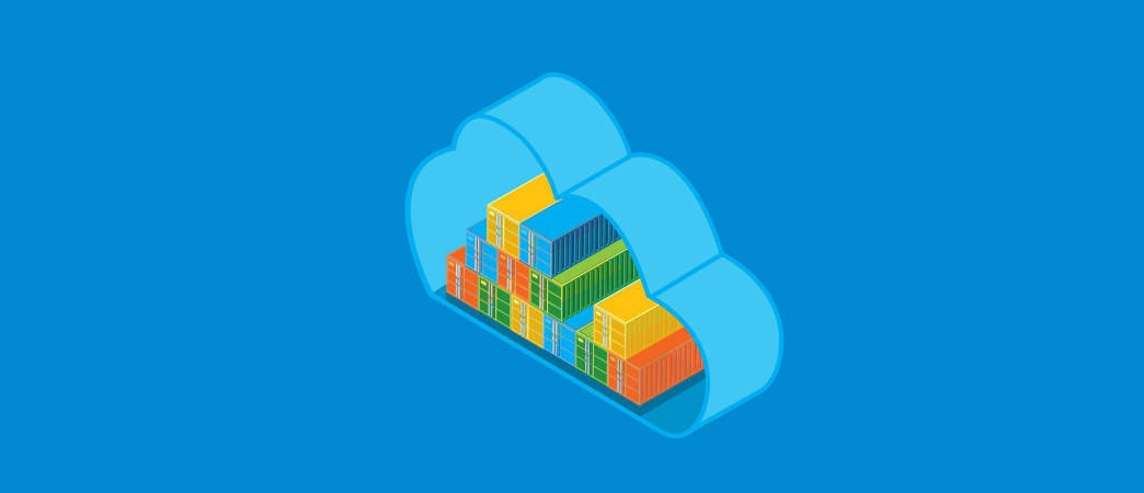 illustration showing containers in a cloud