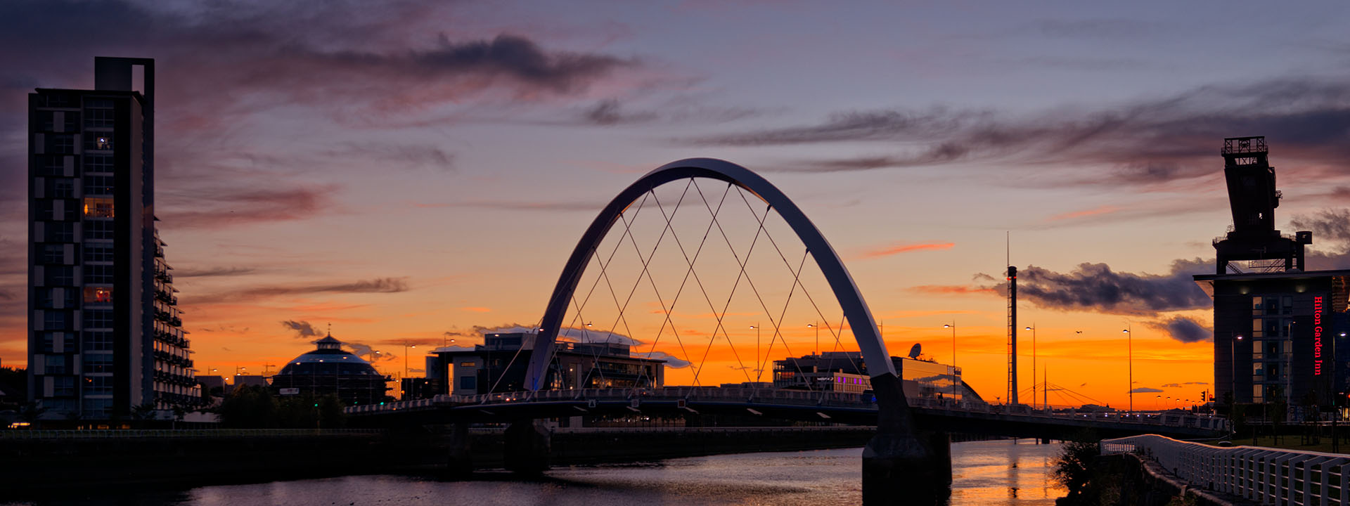 Sunset photo of the Clyde Arc in Glasgow, UK