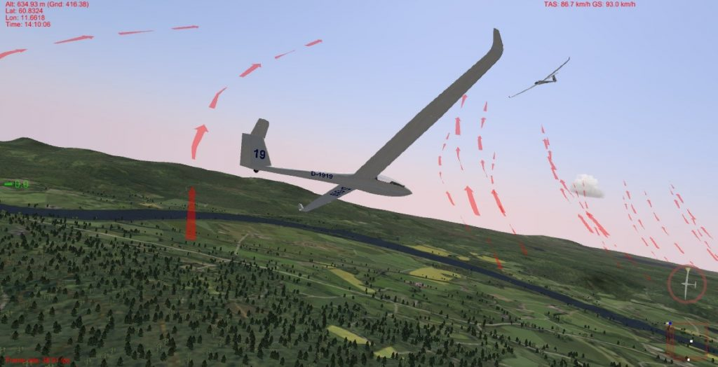 Figure 5: Software-in-the-loop simulation in Silent Wings. A Frigatebird-controlled LS-8b sailplane is trying to catch a thermal where another sailplane is already soaring on a windy day near Starmoen, Norway. For debugging convenience, Silent Wings indicates the centers of thermals and ridge lift, which are invisible in reality, with red arrows (this visualization can be disabled).
