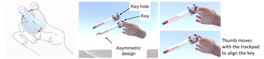 Figure 4: Using TORC to insert a key on a keyhole. TORC allows precise manipulation of a held object's rotation by sensing finger motion.