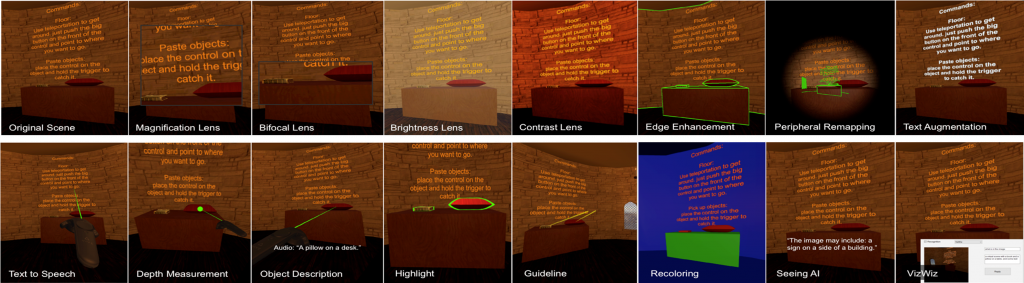 The 14 SeeingVR tools, overlaid individually upon a scene from the open source Unity game EscapeVR-HarryPotter; end-users can combine the individual tools as needed, based on their visual abilities.