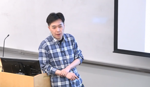 Nan Jiang giving talk On The Hardness of Reinforcement Learning With Value-Function Approximation
