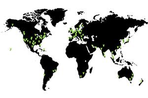 Black and white map graphic with green location arrows