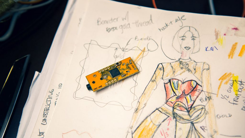 Project Brookdale: photo of a dress sketched with placement of circuit and beads
