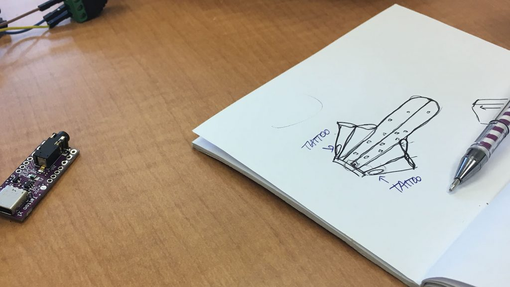 Project Brookdale: photo of sketchbook showing placement of Smart Tattoos