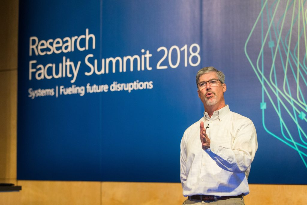 Sandy Blyth, Managing director for Microsoft Outreach, addresses attendees of Faculty Summit 2018.