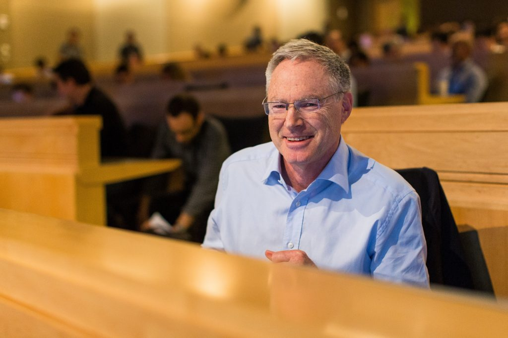 Microsoft's Eric Horvitz enjoys a panel discussion during Faculty Summit 2018.