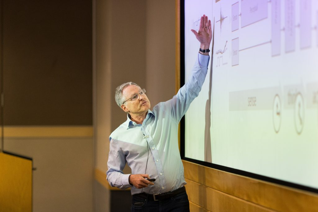 Microsoft's Eric Horvitz delivering a keynote during Faculty Summit 2018.