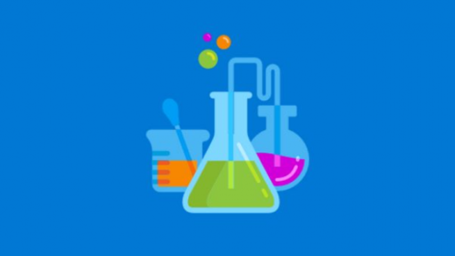 Graphic of three beakers with colored liquid bubbling