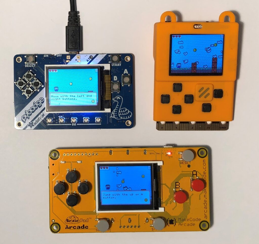 Handheld devices produced by Microsoft hardware partners use Arm Cortex-M4 MCUs, which have around 100 KB of RAM running at around 100 megahertz. Complex MakeCode Arcade games run at about 30 frames per second on the devices.