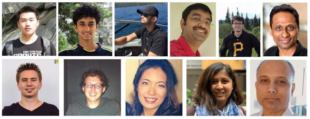 The BlameIt team (from left to right): Top row: Yuchen Jin, Sundararajan Renganathan, Ganesh Ananthanarayanan, Venkat Padmanabhan, Junchen Jiang, and Arvind Krishnamurthy. Bottom row: Manuel Schroder, Matt Calder, Minerva Chen, Madhura Phadke, and Abhishek Tiwari.