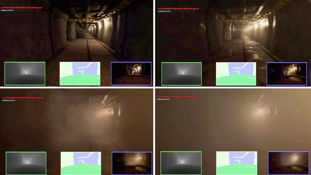Snapshots from the AirSim simulation showing the effects of different conditions such as water vapor, dust and heavy smoke. Such variations in conditions can provide useful data when building robust autonomous systems.
