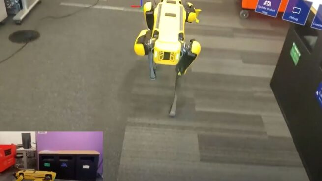 Yellow robot dog demo for Azure Spatial Anchors