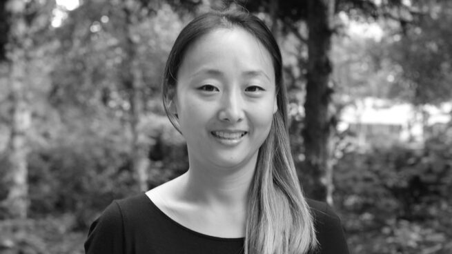 Jina Suh - black and white podcast photo