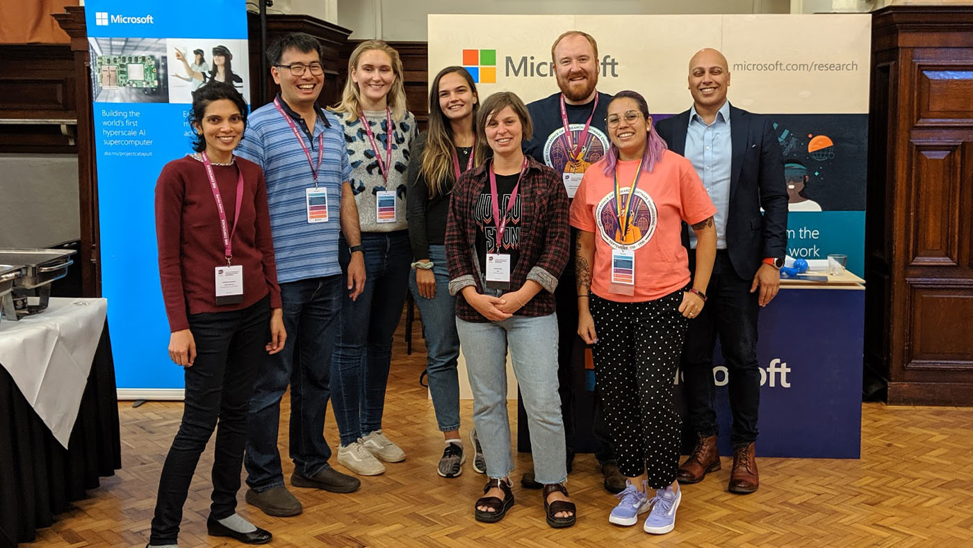 Anna Krystalli from the University of Sheffield (fourth from right) won best poster at the fourth Conference of Research Software Engineering with her poster on pkgreviewr for helping automate the rOpenSci review process for open reproducible research and data access. Microsoft sponsored the first prize for the competition, and pictured with Krystalli is a group from the company (from left): Pashmina Cameron, Kenji Takeda, Camilla Longden, Raluca Georgescu, Matthew Johnson, Tania Allard, and Bhavin Bhagalia.