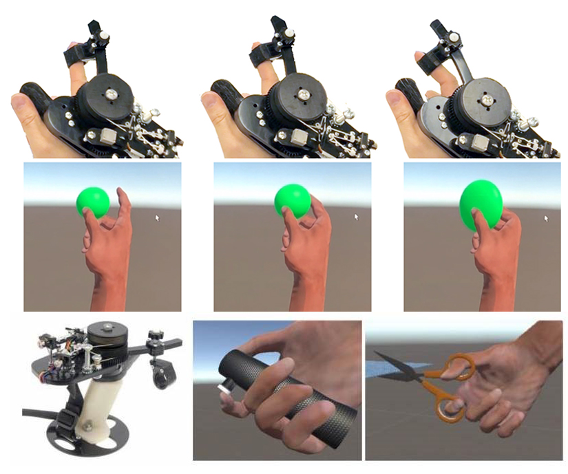 The haptic controller CapstanCrunch supports human-scale forces during touch and grasp and can resist the user's grasp force up to 20 newtons. The friction-based capstan brake mechanism magnifies the force of the controller's small motor, resulting in an integrated, palm-grounded controller design for interaction. The controller can replicate complex haptic events exhibiting variable stiffness and compliance.