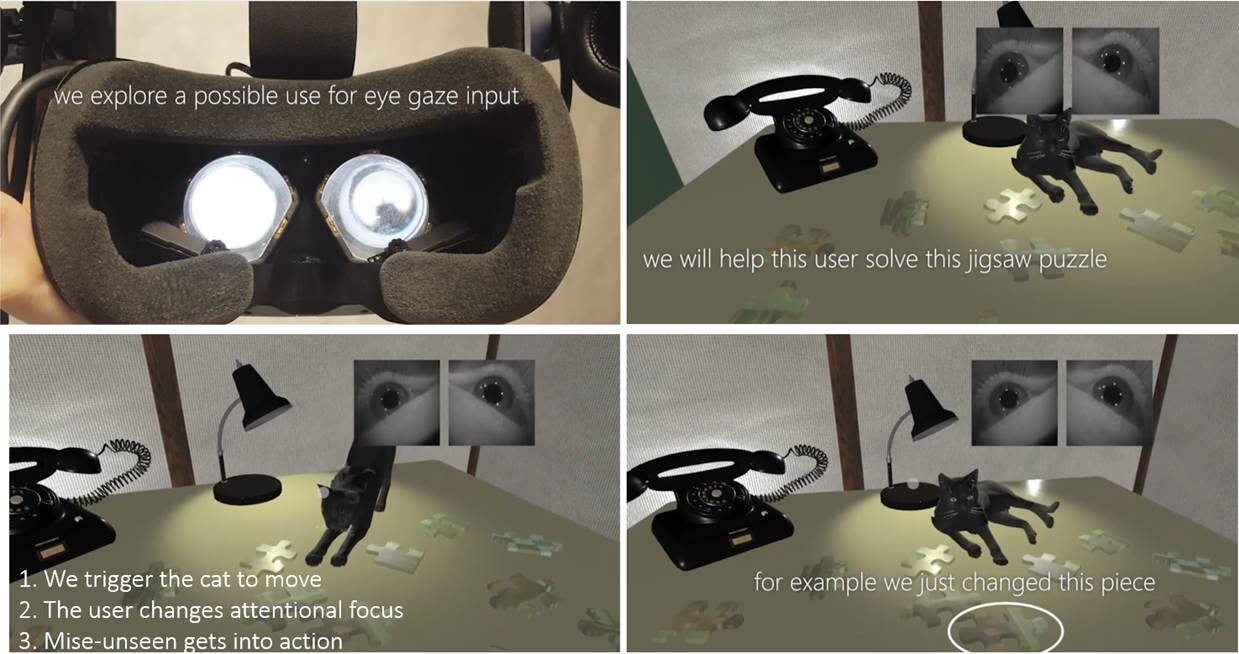 Mise-Unseen uses eye-tracking in VR headsets to hide changes that occur inside the user's field of view by applying them when the user's attention is diverted elsewhere. In this example, it unnoticeably changes the scene as the user is focusing on a movement from the cat, facing pieces together to help the user solve this puzzle.