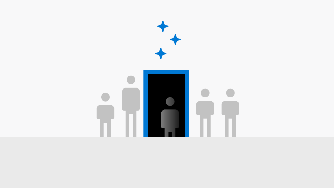 Image of people walking through door at different heights and coming out same size.