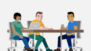 an illustration of a woman looking at a Windows laptop, next to a man, and a man looking at a cellphone all sitting at a desk