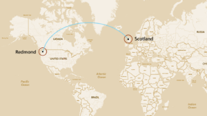 Map showing the data connection between Redmond and Northern Scotland