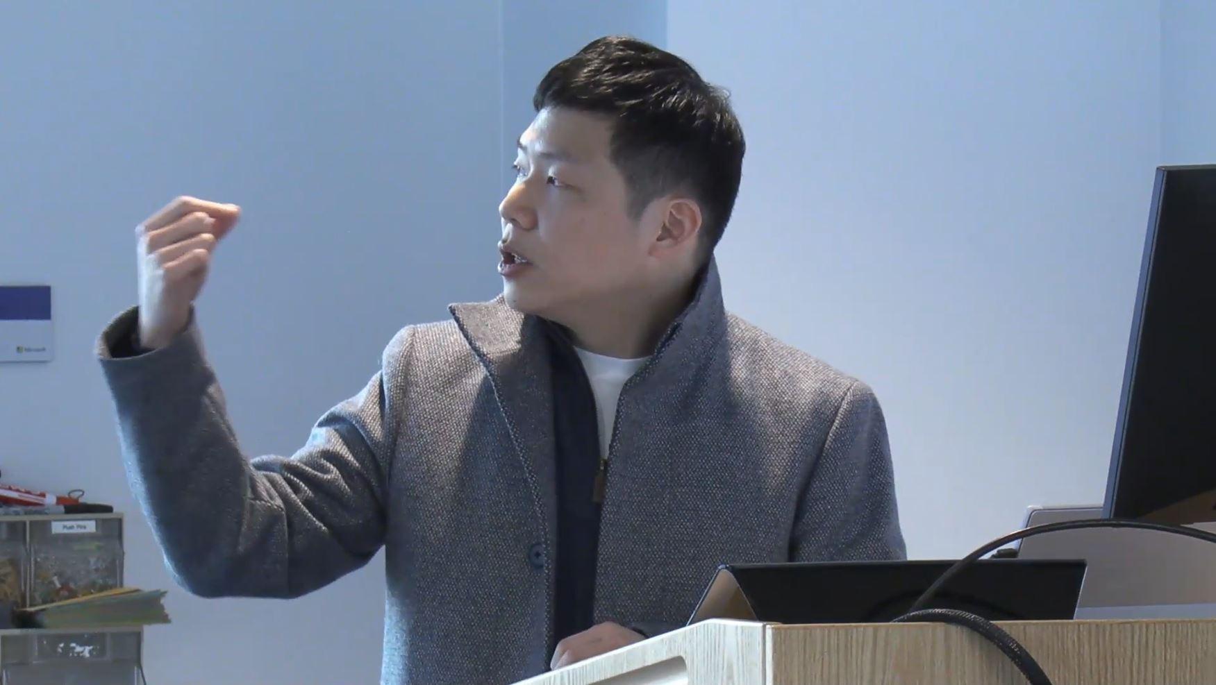 Yongsoo Song giving talk at Microsoft Research