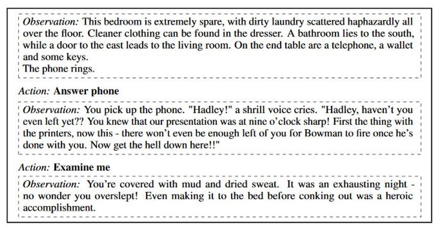 text from interactive fiction game