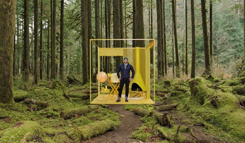 Lucas Joppa standing in a yellow box in the rainforest