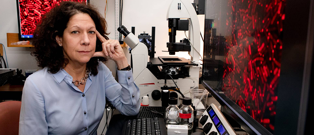 Bonnie Bassler poses in a laboratory at Princeton