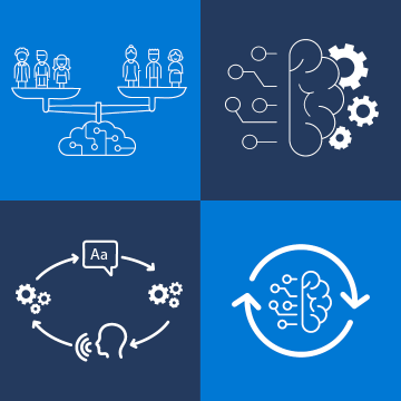 Graphic showing the four themes at the Montreal lab